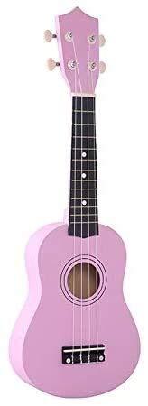 Detazhi 1Set Kinder Musikinstrument 21 Zoll Sopraner Ukulele 4 Saata Hawaiianische Gitarre Uke + String + Pick für Anfänger Kind Geschenk (Farbe: Mokka) (Color : Pink)