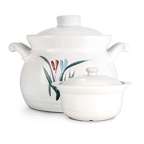 SMEJS Double poignée du Couvercle en céramique Pure Soupière Soupe avec Vaisselle en céramique Ronde feu Casserole Clay Pot Terrestres