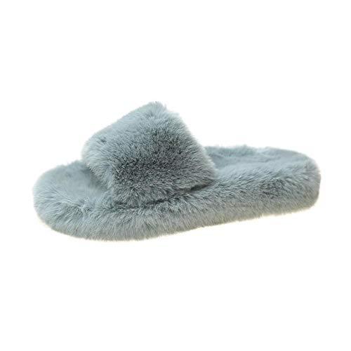 MQQM Geschenk SchlüPfen Flauschige Pantoffeln,Rutschende Ausrutscher, dünne, bündige Schuhe, Dicke, offene Zehenchips-Blue_41,Baumwolle Pantoffeln Flauschige