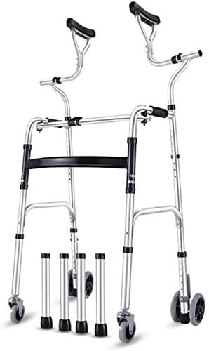 Seniors Rollator Walker, con asiento y ruedas y soporte axilar, asistencia de pasos portátiles plegables, deslizantes de Walker, Walker para adultos, carga de 180 kg / 398lb