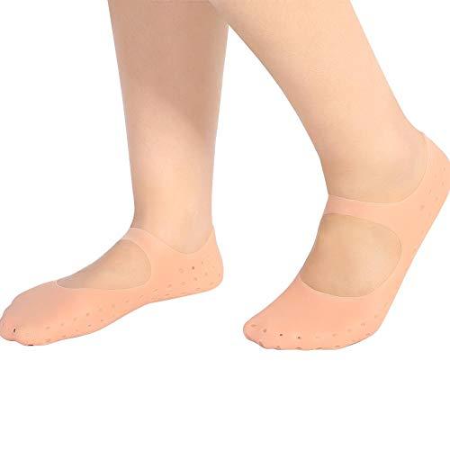Silikon Schutzsocken,1 Paar Silikon Socken Fuß Anti-Risse schützende Fußpflege-Socken Präventivwerkzeug zur Pflege von rissigen Füßen in trockener Haut(L-tono de piel)