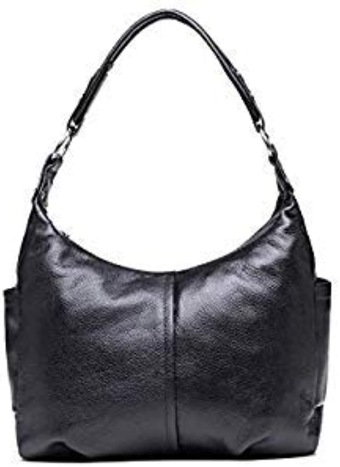 Bloomerang Designer Leisure Genuine Leather Bags Ladies Real Leather Bags Women Luxury Shoulder Tote Bag High Quality Purses and Handbags color Black