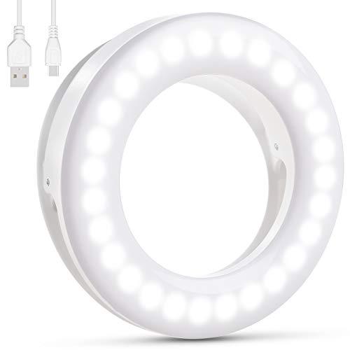 Selfie Light, [Batter Battery Life] Diyife Rechargeable Selfie Ring Light, 3 Light Modes 40 LED Dimmable Ring Light Clip on Phone for YouTube, Facebook, Live Stream, Makeup Vlog