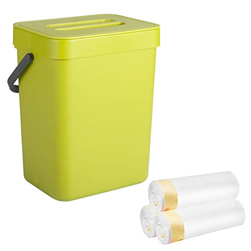 Small Trash Can with Lid, Sturdy Hanging Trash Can for Under the Sink or as Compost Bin for Kitchen Countertop, Portable for your Office Bedroom Bathroom Cupboard Kitchen, 9.6″x 8.2″x 6.8″, Green