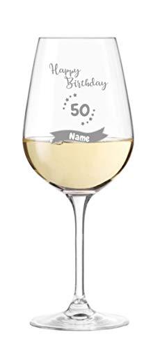 KS Laserdesign Leonardo Weinglas '' zum 50. Geburtstag '' mit persönlicher Gravur - mit Name graviert, Geschenkidee, Geburtstag, Happy Birthday