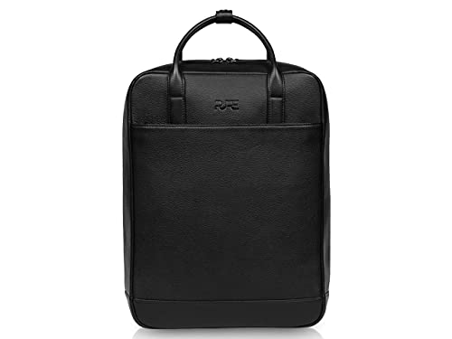 PURE Leather Studio Lederrucksack VEGA - Echtleder Rucksack für Damen und Herren 16 L I Laptop Rucksack für Notebooks bis 16 Zoll & Rückenfach schwarz
