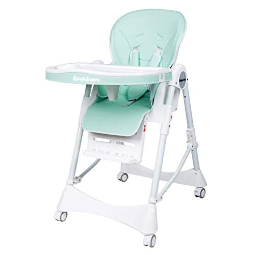 New Portable Fold Baby High Chair,Height Adjustable Booster Feeding Seat,with Casters 5 Point Harnes...