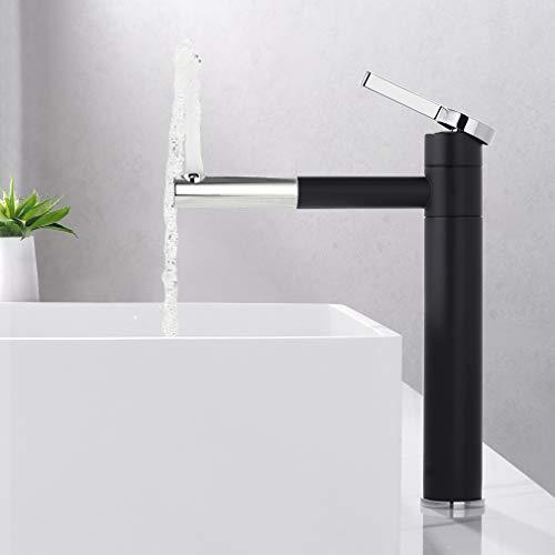 Grifo de baño alto, giratorio 360°, grifo de lavabo, grifo de agua fría y caliente, para baño, cromado