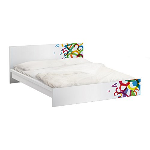 Apalis Möbelfolie für IKEA Malm Bett niedrig 140x200cm Colourful Numbers 77x157cm