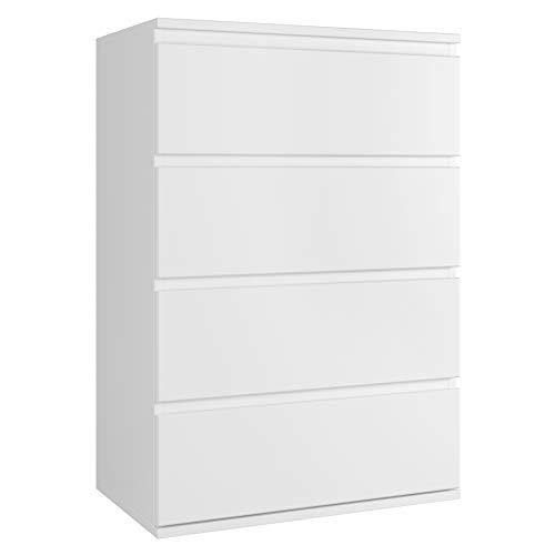 Homfa Kommode mit 4 Schubladen Badezimmerschrank Schubladenkommode Schubladenschrank Aufbewahrungsschrank mit Kippschutz für Schlafzimmer Wohnzimmer Weiß Holz 55x33x80cm