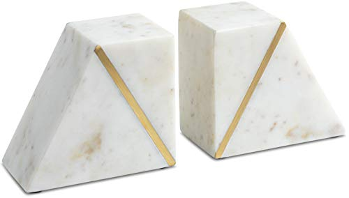 Cork & Mill Marble Bookends - Set of 2 Heavy Decorative Book Stoppers with Non-Skid Bottom - Handcrafted Solid Marble Bookshelf Decor (White + Brass)