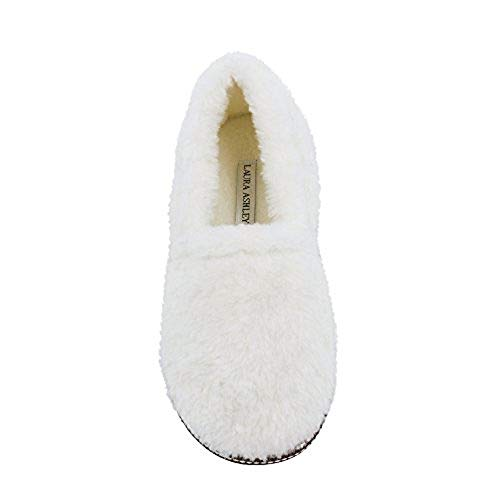 Laura Ashley Ladies Faux Sherpa Closed Back Cushioned Slippers, Ivory Beige, Small