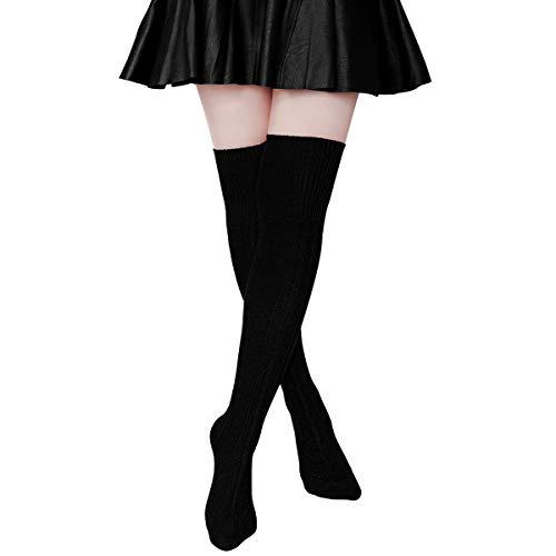 Ordenado Womens Thigh High Socks Extra Long Over the Knee Leg Warmer Cotton Boot Stockings(Black)