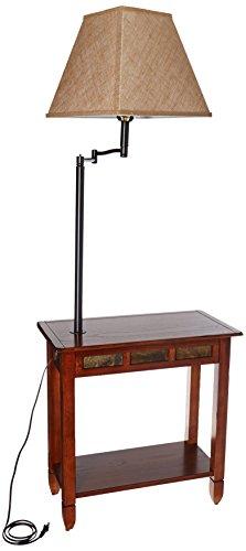 Leick Rustic Slate Tile Chairside Swing Arm Lamp Table