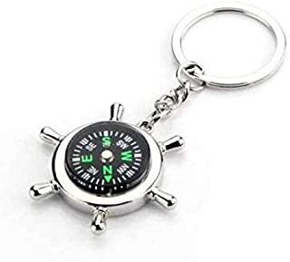 Jaycoknit Men's Wheel Compass Metal Key Chain Ring - Silver With Black Wheel