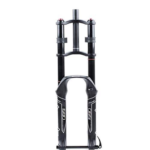 VTDOUQ Horquilla de suspensión de Bicicleta DH 26/27,5/29'Freno de Disco de Doble Hombro hidráulico MTB aleación de magnesio amortiguación de Descenso DH/Am/FR Recorrido 130mm