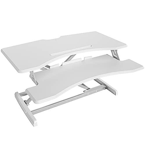 FEZIBO Height Adjustable Stand up Desk Converter – 30 inches Desk Riser, Sit Stand Desk Ergonomic Tabletop Workstation White