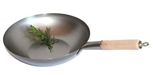AAF Nommel ®, Wok Pfanne Flacher Boden Ø 35 cm, für Gas, Induktion, Ceran und Elektro, mit Holzgriff auch zum Aufhängen