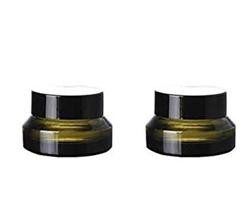 Vide rechargeables en verre Vert épaule Crème Bouteille d'huile essentielle Crème contour des yeux Pot Pots Portable Cosmétique Beauté du visage de conservation support avec capuchon Noir