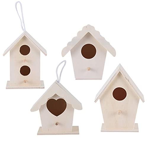 LIXBD Vogelhaus aus Holz, dekoratives kleines Vogelhaus, Vogelhaus, Ornamente, unlackiert, Vogelnest für Foto-Requisiten, Garten, Heimdekoration, 4 Stück