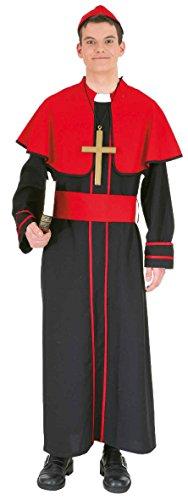 O7022-50-52 - Disfraz de obispo para hombre, talla 50-52, color negro y rojo