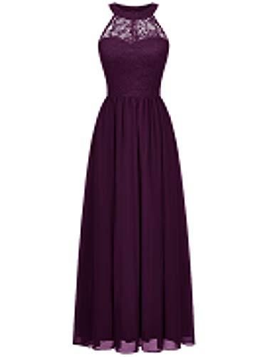 WedTrend Damen Spitzenkleid Brautjungfer Kleid Lang Chiffon Abendkleid Party Cocktailkleid Neckholder Sommerkleid Weintraube WT0201 Grape L