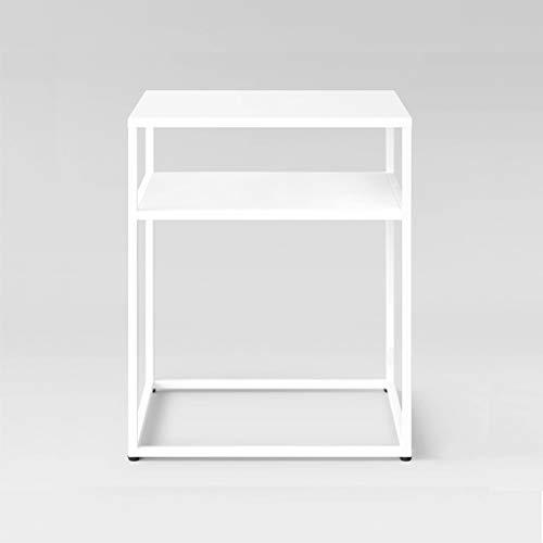 SZQ-Table Basse Taille de la table carrée en métal: 50 * 50 * 60CM Blanc Noir Double Rangement Petite Table Moderne Simple Café Salon Salon Table de sofa (Color : White, Size : 50 * 50 * 60CM)