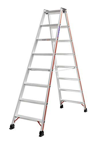 HYMER 402416 Stufenstehleiter beidseitig begehbar, 2x8 Stufen