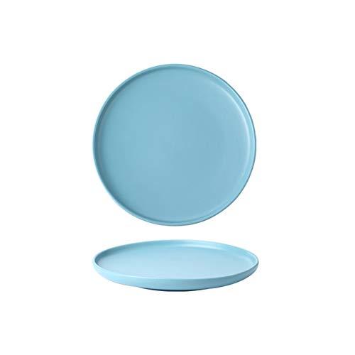 Platos Llanos Platos Plato de Porcelana Ensalada for la Cena y Las pastas Platos de Servir Platos de Postre Minimalista (Color : Blue)