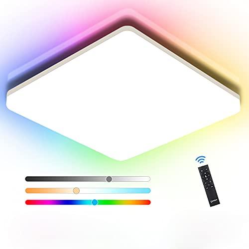 Oeegoo LED Deckenleuchten RGB Farbwechsel, 24W 2400LM RGB Deckenlampe Dimmbar mit Fernbedienung, IP54 Wasserdicht LED Leuchte für Schlafzimmer Wohnzimmer Kinderzimmer Küche Bad, 3000K-4000K-6500K