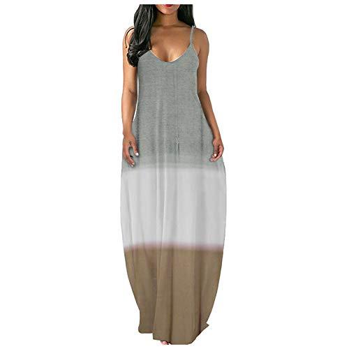 Women Dress QUINTRA Floral Short Sleeve Beach Dress Side Split Casual Loose Long Pockets Casual V-Ausschnitt Sundress (C Gray,S)