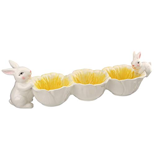 National Tree Company Easter Three-Bowl Candy Dish, White, Yellow