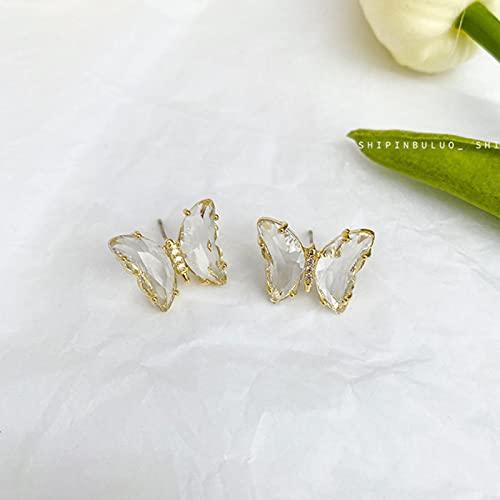CXWK Pendientes de botón de Mariposa de Cristal Transparente Bonitos a la Moda para Mujer...