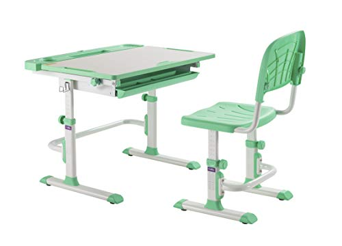 CUBBY DISA Green-Escritorio Infantil (Altura Regulable, con Silla), Verde, 830 x 505 x 526-746 mm