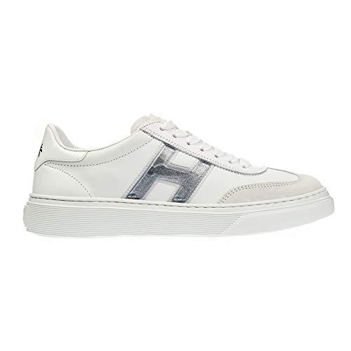 Hogan Hxw3650bj50kgyb001 Sneaker Cassett, - Bianco Argento - Größe: 35 EU