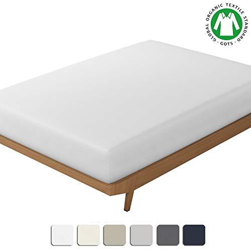 BIOWEAVES 100% algodón orgánico, 1 sábana bajera ajustable, 300 hilos, tela de satén suave, certificado GOTS con bolsillos profundos, Blanco, Individual Extra Grande