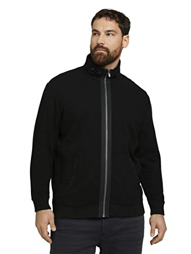 TOM TAILOR Men+ Ottoman Suéter cárdigan, 29999-Black, 5XL Regular para Hombre