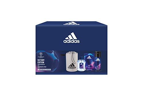 Adidas, Confezione Regalo UEFA Champions League Victory Edition: Profumo Uomo 50 ml, Deodorante Spray 150 ml e Trousse da Viaggio