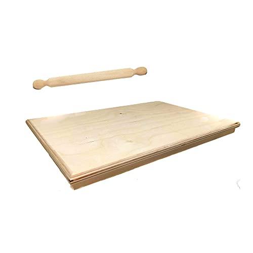Phoenix Products Spianatoia per Impastare in Legno Betulla, Madia per Impastare, Misure 50 x 75 cm Ideale per Pasta Pane Pizza Dolci, Ricette a Base di Farina