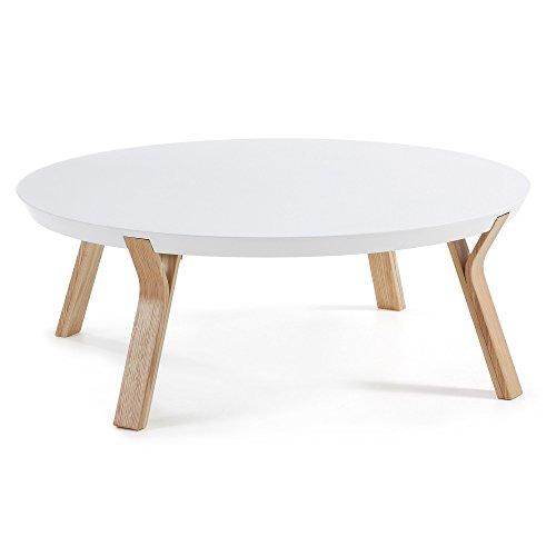 Kave Home - Dilos salontafel wit en es Ø 90 cm