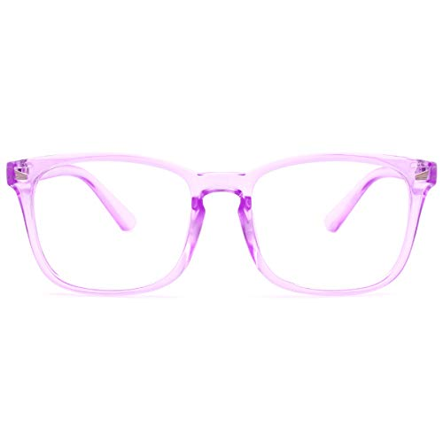 Livho Blue Light Blocking Glasses, Computer Reading/ Gaming / TV /Phones Glasses for Women Men,Anti Eyestrain & UV Glare LI8081 (Clear Purple)