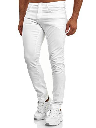 Tazzio Pantalones vaqueros para hombre de corte ajustado con aspecto desgastado 165251 Blanco 32W x 30L
