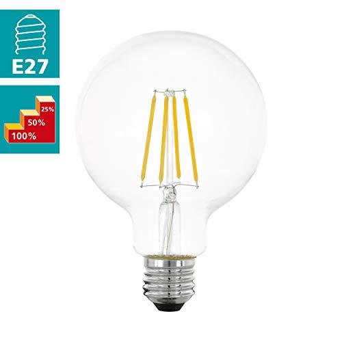 EGLO LED E27 dimmbar in Stufen, Glühbirne klassisch für Retro Beleuchtung, 6 Watt (entspricht 60 Watt), 806 Lumen, E27 LED warmweiß, 2700 Kelvin, LED Leuchtmittel, Edison Glühbirne G95, Ø 9,5 cm