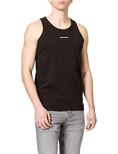 Calvin Klein Jeans Micro Branding Tank Top T-Shirt, CK Nero, M Uomo