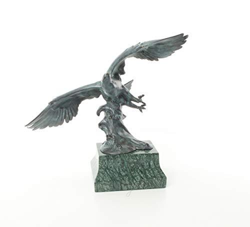 Moritz Design Bronze Statue Adler fliegt Im Flug auf Mamorsockel 17,7 x 44,6 x 42,7 cm Skulptur Bronzestatue Bronzefigur Bronzeskulptur