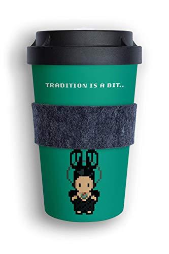 heybico Coffee to go Becher aus Pflanzen hergestellt im Schwarzwald inkl. Veganer Manschette | artwood Edition (Schleifenkappe Nordrach)