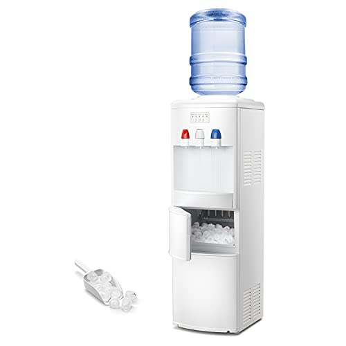 Antarctic Star 2-in-1 Water Cooler Dispenser with Built-in Ice Maker, Hot and Cold Top Loading 3 to 5 Gallon Bottle Water Dispenser,27LBS/24H Ice Maker Machine with Child Safety Lock(White)