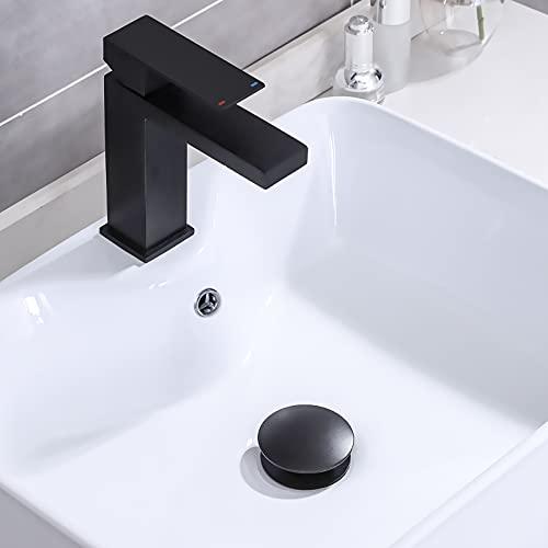 KES Bathroom Sink Drain with Strainer Basket Hair Catcher Anti Clog Pop Up Drain Stopper Vanity Vessel Sink with Overflow, Matte Black S2013A-BK