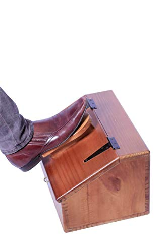 Shoe Shine Box - Pine - Footrest on lid and a lockable compartment for storing Shoe Polish Kit