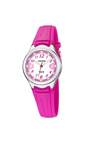 CALYPSO Reloj Modelo K6067/3 de la colección Sweet Time, Caja de 27,7 mm Correa de plástico Fucsia para señora